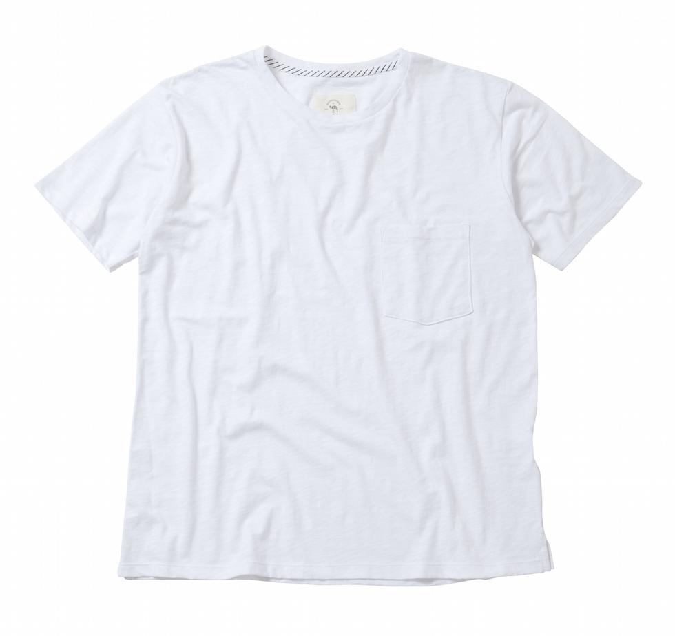 B-22102 POCKET T-SHIRTS-SLUB COTTON- WHITE